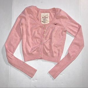 Hollister Pink Cropped Cardigan